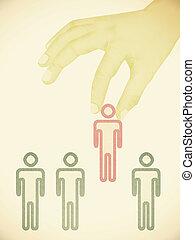 概念, 候補者, 選ばれる, -, 手ざわり, 手, ペーパー, 1(人・つ)