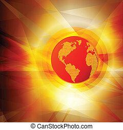 概念, 全体的な地球, 暑い, ベクトル, 背景, 抽象的, 暖まること