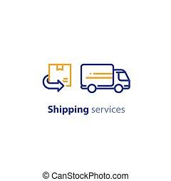 概念, 再配置, 配達トラック, サービス, 出荷, アイコン, 分配, 順序