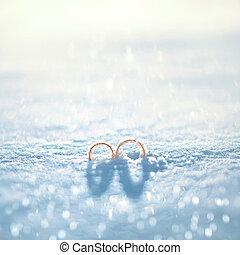 概念, 冬天, 金, -, 戒指, 二, 雪, 天的婚禮