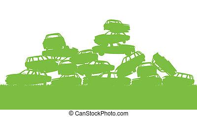 概念, 分類, ゴミ捨て場, ポスター, 無駄, 古物置場, エコロジー, 緑の背景, 管理, 無駄