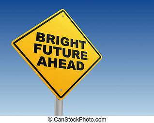 概念, 前方に, イラスト, 印, 明るい未来, 道, 3d