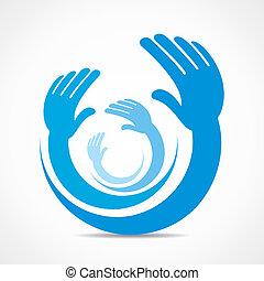 概念, 創造的, アイコン, 手