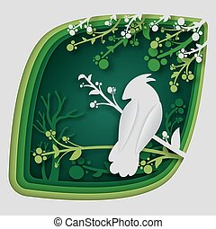 概念, 动物, illustration., 性质, 树, 纸, 想法, 矢量, 森林, 分支, origami, 雕刻, 艺术, 夜晚, 鸟