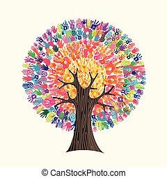 概念, 助け, カラフルである, 木, 手, 社会, 印刷