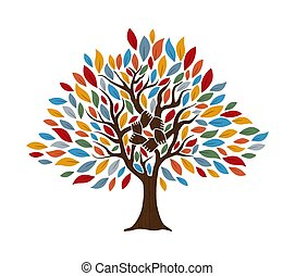 概念, 助け, 木, 共同体, 手, 人間