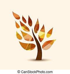 概念, 助け, 自然, シンボル, 木, デザイン, 秋