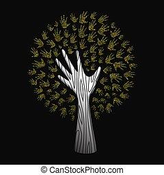 概念, 助け, 金, 自然, 木, 手, きらめき