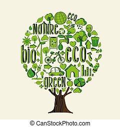 概念, 助け, eco, 木, 環境, 緑