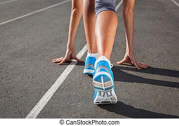概念, -, 動くこと, クローズアップ, 靴, ランナー