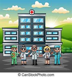 概念, 医学 チーム, 前部, 病院の スタッフ
