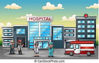 概念, 医学, 救急車, チーム, 前部, 病院の スタッフ