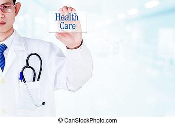 概念, 医者, スクリーン, ビジュアル, 保有物, ヘルスケア