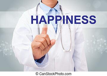 概念, 医者, 健康, screen., 事実上, 手, 感動的である, 印, 幸福