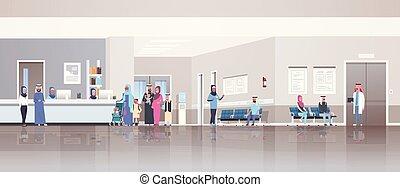 概念, 医者, 医院, アラビア, 横, 地位, 伝統的である, 病院, 患者, 待つこと, 相談, 内部, 平ら, フルである, 机, 線, ホール, 列, 長さ, レセプション, ヘルスケア, 衣服