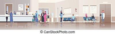 概念, 医者, 医院, アラビア, 横, 地位, 伝統的である, 病院, 患者, 待つこと, 相談, 内部, 平ら, フルである, 机, 線, 旗, ホール, 列, 長さ, レセプション, ヘルスケア, 衣服