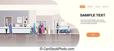 概念, 医者, 医院, hijab, アラビア, 線, 地位, スペース, 病院, 患者, 待つこと, 相談, 内部, フルである, 机, 横, コピー, ホール, 列, 長さ, レセプション, ヘルスケア