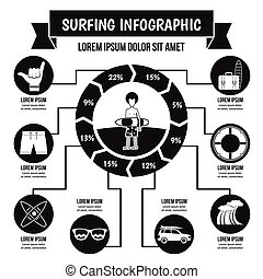 概念, 単純である, スタイル, infographic, サーフィン