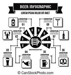 概念, 単純である, ビール, infographic, スタイル