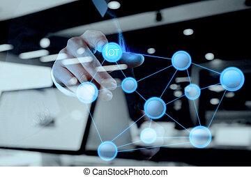 概念, 単語, もの, 提示, (iot), ダブル, 図, インターネット, 手, さらされること