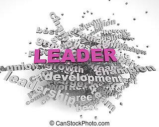 概念, 単語, イメージ, 背景, リーダー, 雲, 3d