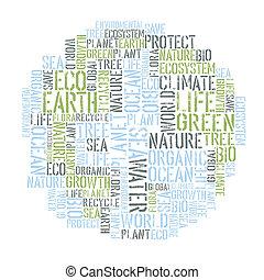 概念, 単語, イラスト, ポスター, collage., 環境, ベクトル, エコロジー, tempolate., デザイン, eps8., 地球
