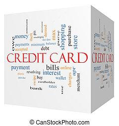概念, 単語, クレジット, 立方体, カード, 雲, 3d