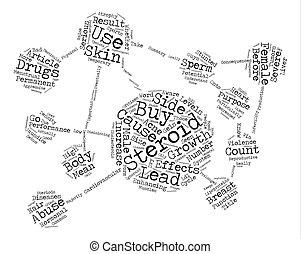 概念, 単語, ステロイド, テキスト, 買い物, 効果, 背景, あなた, 前に, 側, 雲, 知りなさい