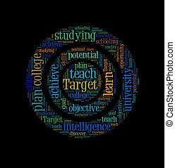 概念, 単語, ターゲット, 教育, 背景, 雲
