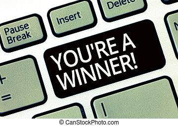 概念, 単語, チャンピオン, ビジネス, テキスト, winner., 執筆, レ, 場所, 競争, 第1, あなた, 勝利, ∥あるいは∥