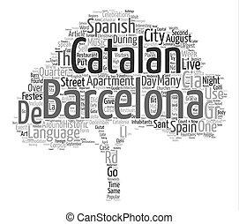 概念, 単語, テキスト, バルセロナ, 背景, 雲