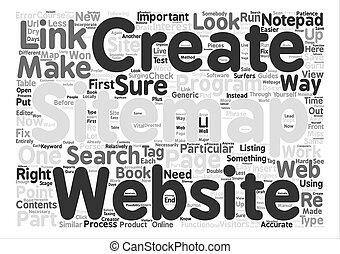 概念, 単語, テキスト, 作成しなさい, js, いかに, sitemap, 背景, 雲