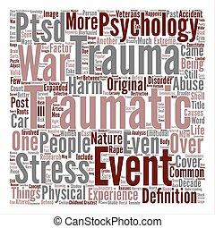 概念, 単語, テキスト, 分析, 外傷, 背景, 雲
