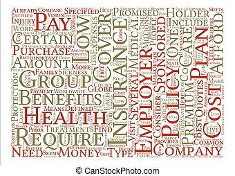 概念, 単語, テキスト, 得なさい, いかに, コスト, 健康, 低い, 背景, 保険, 雲