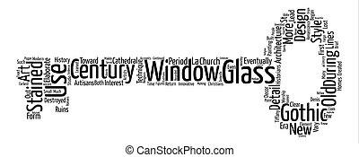概念, 単語, テキスト, 汚された, 報告書, ガラス, 背景, 雲, 歴史