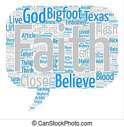 概念, 単語, テキスト, 背景, evangelism, bigfoot, 雲