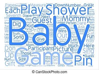 概念, 単語, テキスト, babygameshower, 背景, 雲