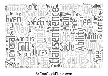 概念, 単語, テキスト, clairsentience, 背景, 雲