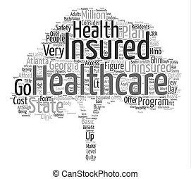 概念, 単語, テキスト, s, 州, ジョージア, 健康, 背景, 保険, 雲