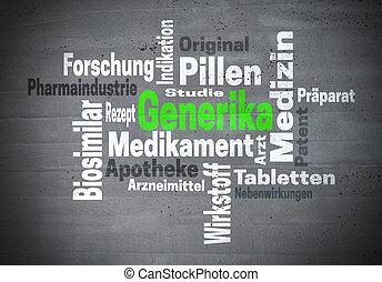 概念, 単語, ドイツ語, medicine), 一般的, (in, generika, 雲