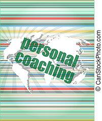 概念, 単語, ビジネス, 個人的, スクリーン, コーチ, デジタル, 3d