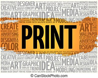 概念, 単語, ビジネス, 創造的, 印刷, 雲