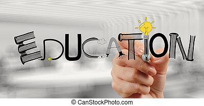 概念, 単語, ビジネス, 手, グラフィック, デザイン, 教育, 図画