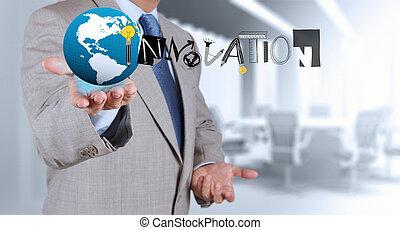 概念, 単語, ビジネス, 手, 写実的な 設計, 革新, 図画