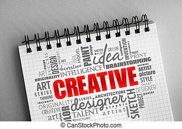 概念, 単語, 創造的, 雲