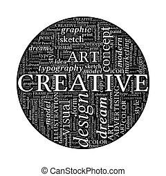 概念, 単語, -, 創造的, 黒, デザイン, 白い円, 雲