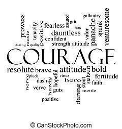 概念, 単語, 勇気, 黒, 白い雲