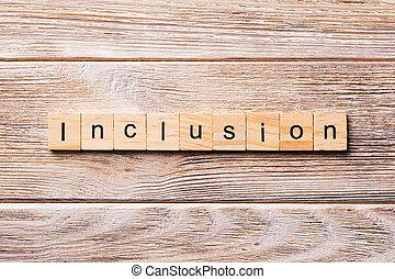 概念, 単語, 包含, 木製である, テキスト, 書かれた, 木, block., テーブル, desing, あなたの