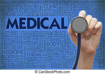 概念, 単語, 医者, 医学, 手, 聴診器, 雲