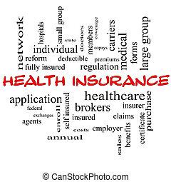 概念, 単語, 帽子, 健康, 雲, 保険, 赤